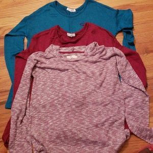 Long sleeve stretchy  tops.....burgundy, teal,and